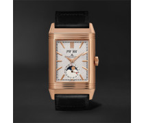 + Casa Fagliano Reverso Tribute Calendar Limited Edition Hand-Wound 29.9mm 18-Karat Rose Gold and Leather Watch, Ref. No.