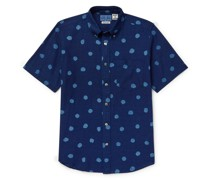 Button-Down Collar Indigo-Dyed Polka-Dot Cotton Shirt