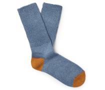 Ribbed Mélange Stretch Cotton-Blend Socks