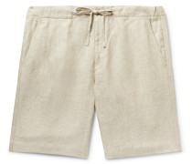 Slim-Fit Linen Drawstring Bermuda Shorts