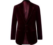 Burgundy Slim-Fit Cotton-Velvet Tuxedo Jacket