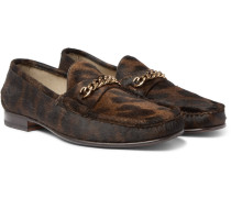 York Chain-trimmed Leopard-print Calf Hair Loafers