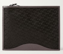 Logo-Jacquard Coated-Canvas and Full-Grain Leather Pouch