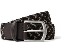 3.5cm Leather-Trimmed Woven Elastic Belt