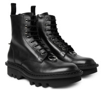 Pierced Punk Embellished Leather Boots