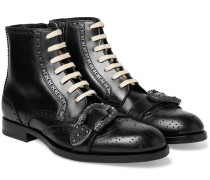 Embellished Leather Brogue Boots