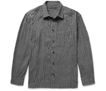 Broken-stripe Textured Cotton-blend Shirt