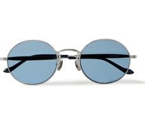 Round-Frame Titanium Sunglasses with Side Shield