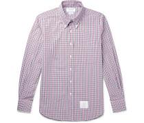 Button-Down Collar Appliquéd Checked Cotton-Poplin Shirt