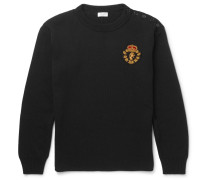 Embroidered Ribbed Cotton And Wool-blend Sweater