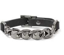 Rockstud Leather And Silver-tone Bracelet