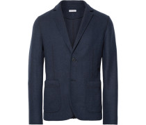 Navy Slim-fit Unstructured Felt Blazer