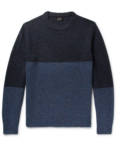 Colour-block Mélange Donegal Wool-blend Sweater - Navy