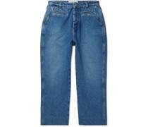 Wide-Leg Cropped Denim Jeans