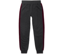 Tapered Velvet-trimmed Cotton-jersey Sweatpants