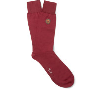 Embroidered Cotton-blend Socks