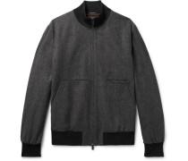 Herringbone Wool And Cashmere-blend Bomber Jacket