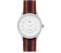 Whitney Village Reversible Stainless Steel And Grosgrain Watch