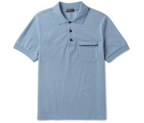 Slim-fit Leather-trimmed Cotton-piqué Polo Shirt