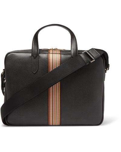 Paul Smith Herren Portfolio Webbing-trimmed Full-grain Leather Messenger Bag