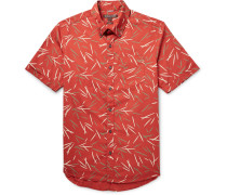 Slim-fit Button-down Collar Printed Cotton-poplin Shirt