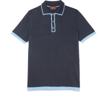Contrast-tipped Silk And Cotton-blend Polo Shirt