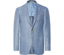 Blue Kei Slim-fit Mélange Wool, Silk, Linen-blend Blazer - Blue