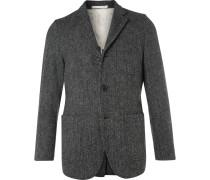 Grey Slim-fit Harris Tweed Wool Blazer