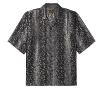 Camp-Collar Leopard-Print Jacquard Shirt