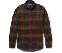 Slim-fit Cutaway-collar Checked Cotton And Wool-blend Flannel Shirt