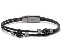 Braided Leather And Gunmetal-tone Bracelet