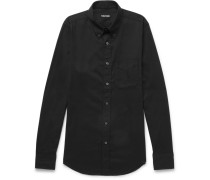 Slim-fit Button-down Collar Cotton-blend Twill Shirt