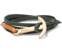 Modern Anchor Leather And Gold-plated Wrap Bracelet