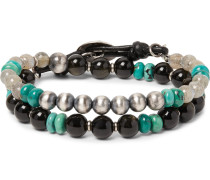 Labradorite, Obsidian, Turquoise And Sterling Silver Wrap Bracelet