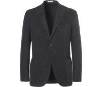 Charcoal Slim-fit Cotton-moleskin Blazer