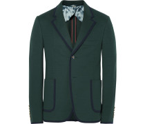 Green Slim-fit Contrast-tipped Cotton Suit Jacket