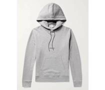 Slim-Fit Logo-Print Mélange Loopback Cotton-Jersey Hoodie