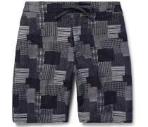 Emmett Slim-fit Patchwork Cotton-jacquard Shorts