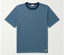 Logo-Appliquéd Striped Organic Cotton-Jersey T-Shirt