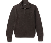Ribbed Wool Half-zip Sweater