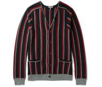 Striped Brushed Merino Wool Cardigan