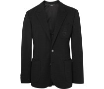 Black Slim-fit Embroidered Virgin Wool Blazer