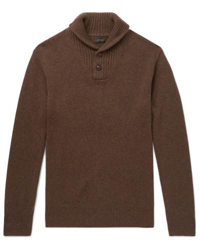 Shawl-collar Merino Wool-blend Sweater - Brown