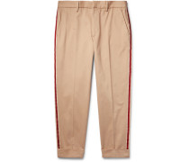 Tapered Cropped Webbing-trimmed Cotton-twill Chinos