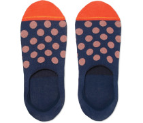 Polka-dot Mercerised Cotton-blend No-show Socks