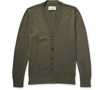 Leather Elbow-patch Cotton And Wool-blend Cardigan