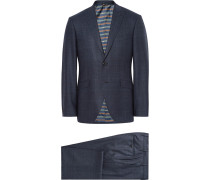 Blue Slim-fit Prince Of Wales Checked Wool Suit