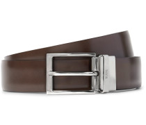 3cm Brown And Blue Reversible Leather Belt