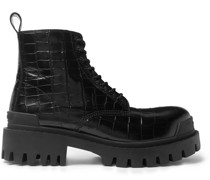 Strike Croc-Effect Leather Boots