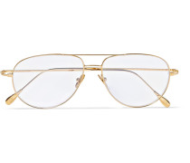 + Cutler And Gross Statesman Aviator-style Gold-tone Optical Glasses